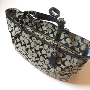 Coach monogram purse authentic grey black